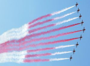 Red Arrows making the Cross of St George