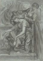 Rossetti - Drawing of Desdemona's Death-Song (1875-80)