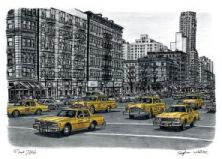 Stephen Wiltshire - Street Scene with yellow New York taxis (2006)