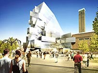 An artist's impression of the proposed Tate extension (a real artist!)