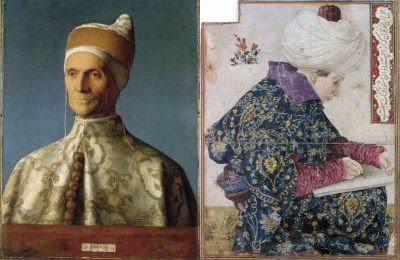 Comparison of paintings by the Bellini brothers - left Giovanni's Doge, right Gentile's Seated Scribe