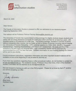 Acceptance letter from Faculty of Information Studies of the University of Toronto