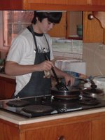 a 16 year-old in an apron---yet another miracle in our house