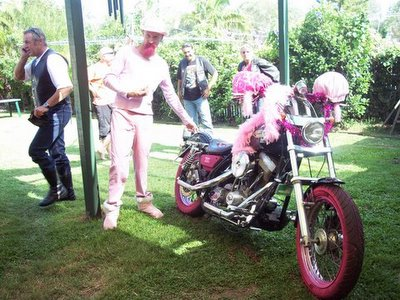 Grasshopper and his PINK Harley!!