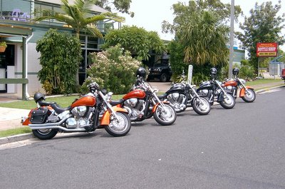 The bikes outside the pub at Tin Can Bay