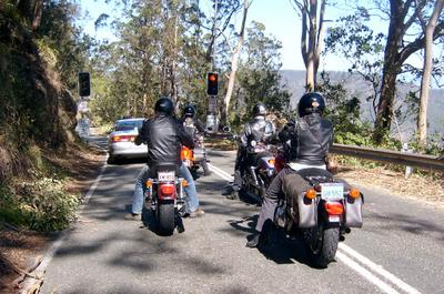Waiting at the lights on the way down to Canungra