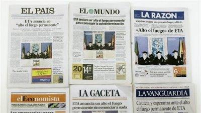 Pocas cabeceras mostraron originalidad en las portadas del día siguiente al comunicado: Alto el fuego, esperanza y cautela fueron las palabras más repetidas