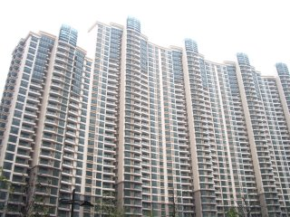 Empty apartment buildings near the Moganshan artists' complex