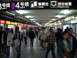 Shanghai Metro station - hot and sweaty