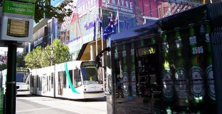 Trams and Heineken at Swanston & Lonsdale Streets; source: Koyzis
