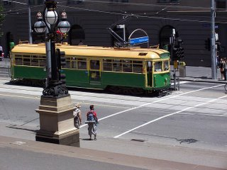 A tram on Spring Street, Melbourne; source: Koyzis