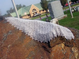 Another photo of Becky's shawl knit in Jade Sapphire 2-ply cashmere yarn.