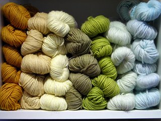 A grouping of Jade Sapphire 6-ply cashmere yarn.