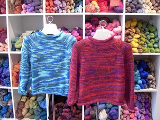 Nancy's Top-Down Sweaters knit in Shepherd Worsted yarn