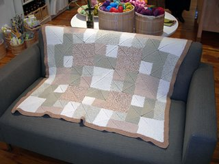 Rambling Rows Afghan knit in Blue Sky Organic Cotton yarn
