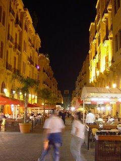 Rue du Parlement Beyrouth la nuit