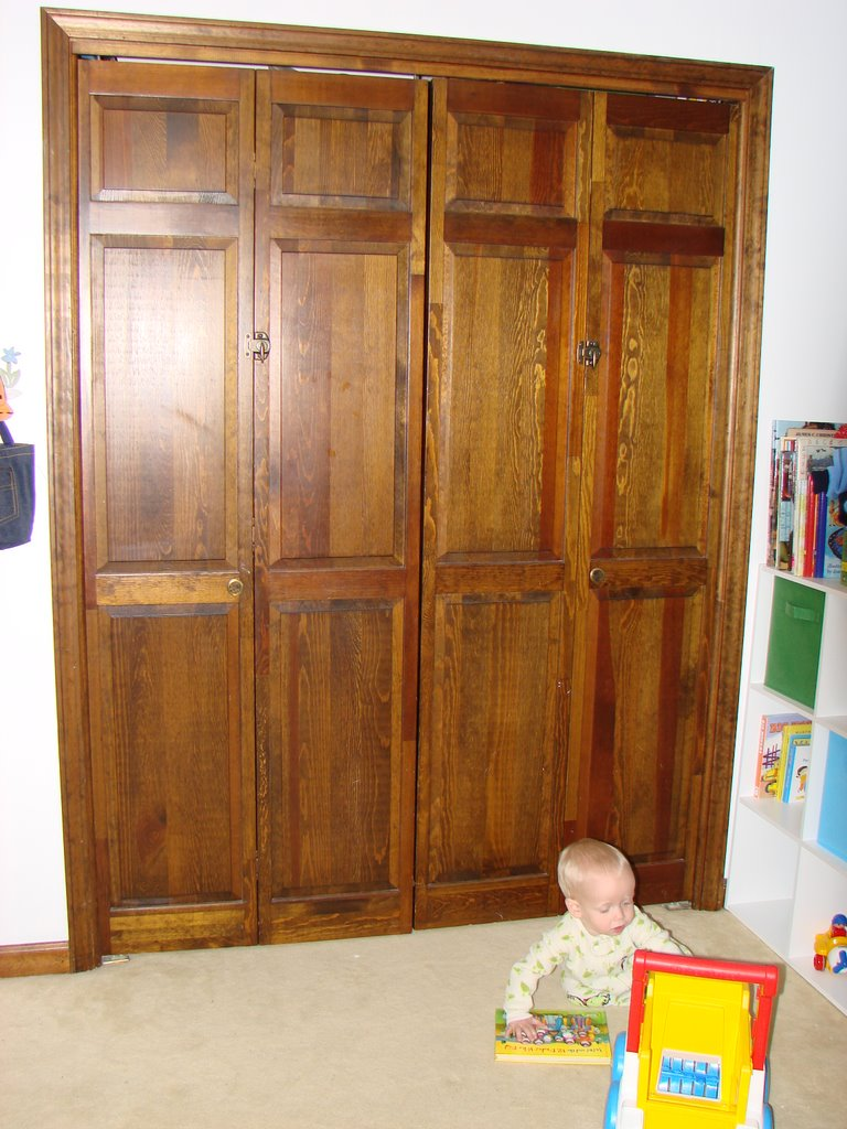 Wooden Folding Doors : Baby toolkit babyproofing hacking a wooden bi fold door