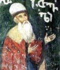Shota Rustaveli, fresco on one of the pillars of the Georgian Monastery of the Saint Cross in Jerusalem