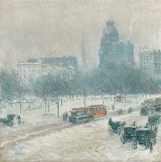 Childe Hassam - Winter in Union Square, 1889–90, New York Metropolitan Museum of Art
