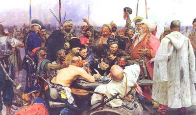 Repin, Zaporozhian Cossacks of Ukraine Writing a Letter in Reply to the Sultan of Turkey, St. Petersburg, Russian Museum