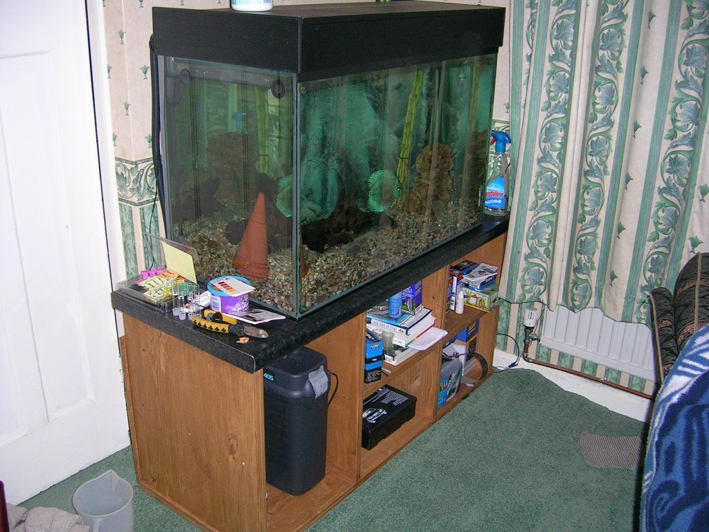 Fish tank tv stand - Never A Tv Stand Any Sideways Stress Game Over Here S Mine It S Basically Two Kiddies Wooden Toy Storage Shelves Adapted Glued And Screwed