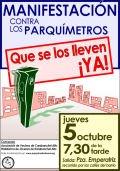 Manifestación contra los parquímetros