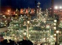 vista da refineria de noite