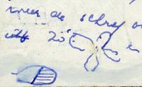 tekening op doften roeiboot van beschadigde schroef en blad