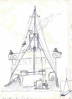 jongen in bootsmaatstoeltje opgehesen langs de voorstag - klik om te vergroten