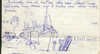 tekening Volendam en spoorbrug na aanvaring in Suezkanaal - klik om te vergroten