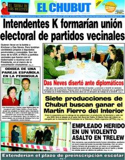 Portada del diario El Chubut