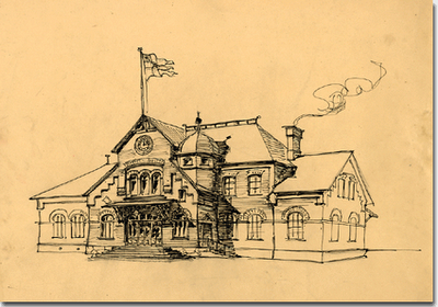 Typritning till svensk stationsbyggnad i nationalromantisk stil. Ritad av Folke Zetterwall kring sekelskiftet. Bild från Riksarkivet.