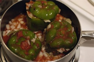 stuffed peppers cooking