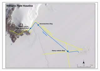 Map of the ice shelf between Scott Base and Willy Field showing the willy hose.