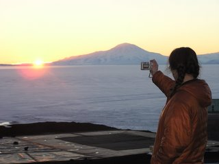 Hope taking a picture of one of our first sunsets