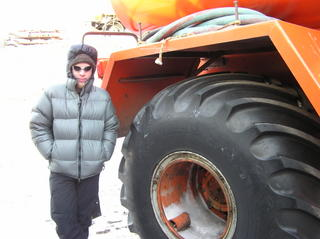 Ian standing beside one of Scharen's wheels
