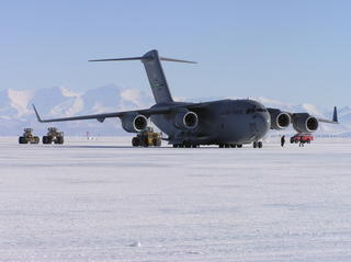 C-17 being unloaded on the ice runway