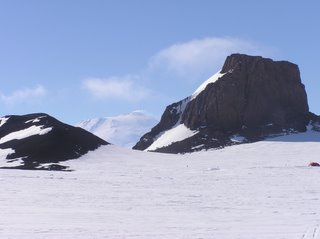 Castle rock on the right, Erebus in the background