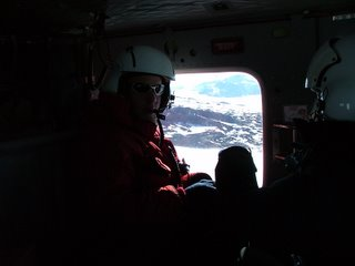 Ian riding back to McMurdo in a Bell 212
