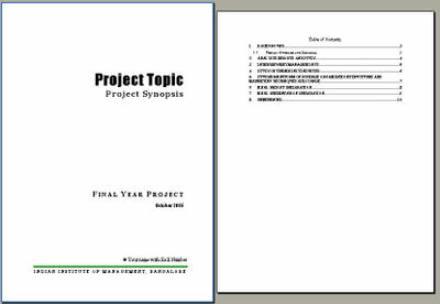 Sample format for the interim project progress report