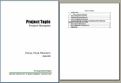 Sample format for the interim project progress report