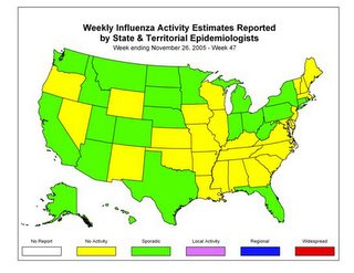 US Flu Activity as of 11/26/05