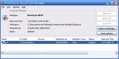 McAfee Detect UUE Virus MyWife.d