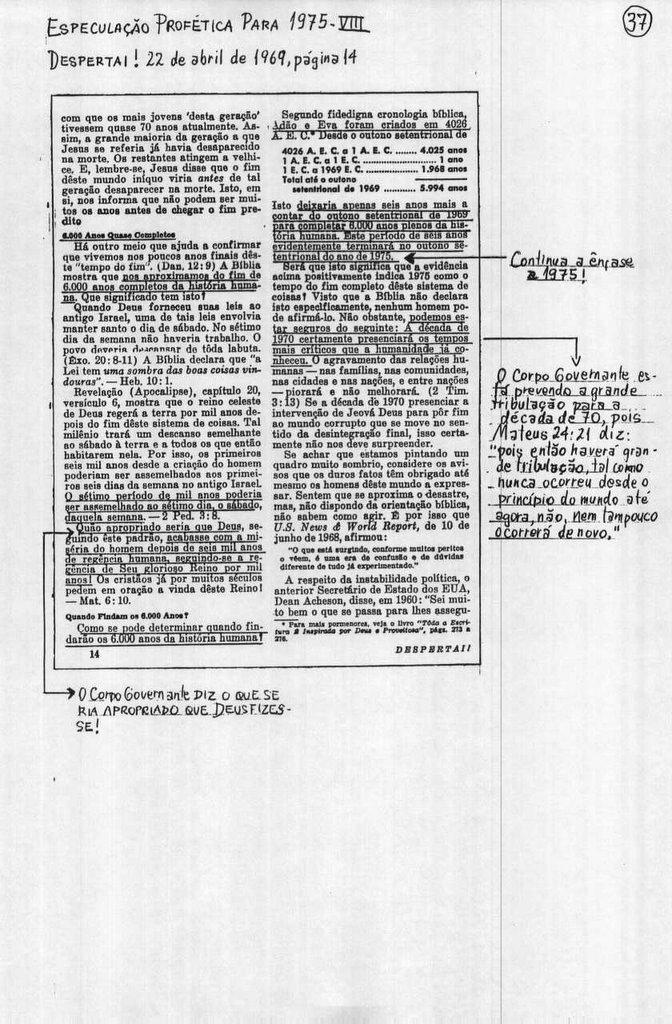 Especulação Profética do Corpo Governante Para 1975 (8)
