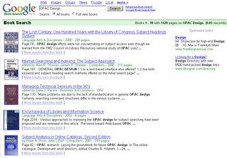 Ergebnisliste von Googles Book Search