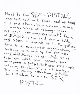 Sex Pistols note to the Rock and Roll Hall of Fame - click to enter Sex Pistols website