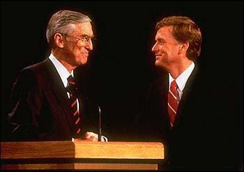 Lloyd Bentsen and Dan Quayle before their 1988 debate
