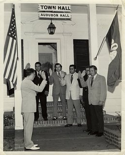 William J. D'Aquilla, third from right, being sworn in as<br />Mayor Pro Temp, 1972.