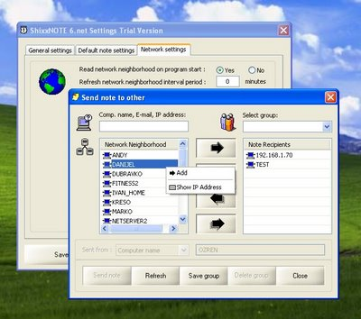 ShixxNOTE Settings dialog and Send Note dialog