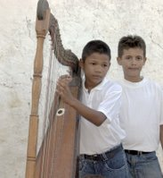 José Jacinto Ramos with harp